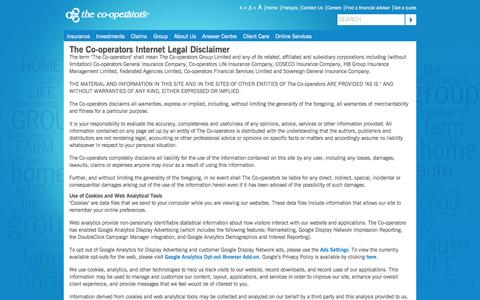 Screenshot of Terms Page cooperators.ca - Legal - - captured Sept. 19, 2014