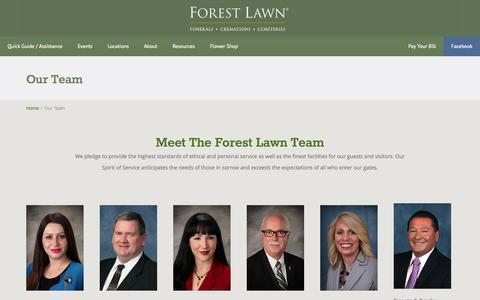 Screenshot of Team Page forestlawn.com - Our Team - Forest Lawn - captured Sept. 19, 2014