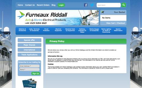 Screenshot of Privacy Page furneauxriddall.com - Privacy Policy | Marine Electrical Suppliers - captured Nov. 3, 2014