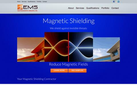 Screenshot of Home Page emishield.com - Electromagnetic shielding to reduce magnetic fields - captured Oct. 2, 2014