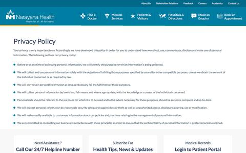 Privacy Policy | Narayana Health | Multispeciality Hospital Chain in India