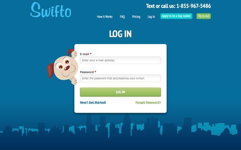 Screenshot of Login Page swifto.com - User account | Swifto | NYC Dog Walking with GPS Tracking - captured May 9, 2017