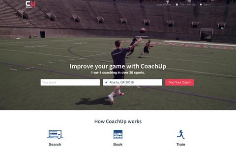 Screenshot of Home Page coachup.com - Private Coaches in Basketball, Football, Soccer, and More | CoachUp - captured Feb. 3, 2016