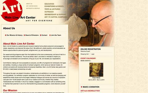 Screenshot of About Page mainlineart.org - Main Line Art Center - captured Oct. 4, 2014