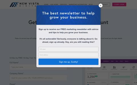 Screenshot of Trial Page newvistadigital.com - Sign Up for a Free 14-day Trial - New Vista Digital - captured July 9, 2018