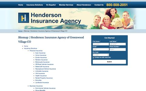 Screenshot of Site Map Page hendersonagency.net - Sitemap | Henderson Insurance Agency of Greenwood Village CO - captured Oct. 2, 2014