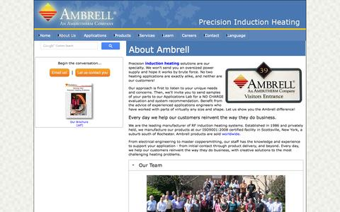 Screenshot of About Page ambrell.com - Ambrell Induction Heating Company Factsheet - captured Sept. 19, 2014