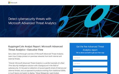 Screenshot of Landing Page microsoft.com - Analyst Report:  Microsoft Advanced Threat Analytics Review | Microsoft - captured Dec. 29, 2016