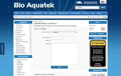 Screenshot of Contact Page bioaquatek.com - Contact us - Bio Aquatek - captured Oct. 10, 2017