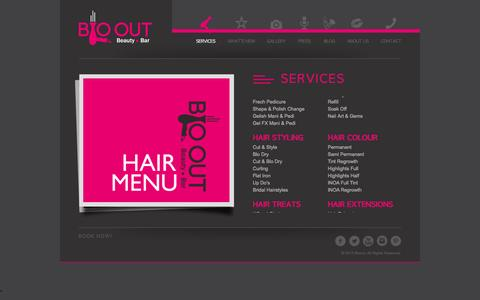 Screenshot of Home Page Services Page blooutbeauty.com - Blo Out Beauty Bar - captured Oct. 5, 2014