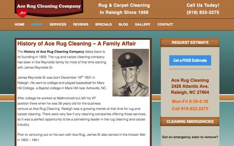 Screenshot of About Page acerug.com - History of Ace Rug Cleaning in Raleigh NC - captured Oct. 31, 2014