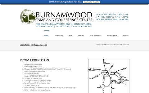 Screenshot of Maps & Directions Page burnamwood.net - Camp Burnamwood   –  Directions to Burnamwood - captured Oct. 5, 2014