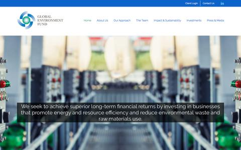 Screenshot of Home Page globalenvironmentfund.com - Home | Global Environment Fund (GEF) - captured July 19, 2018