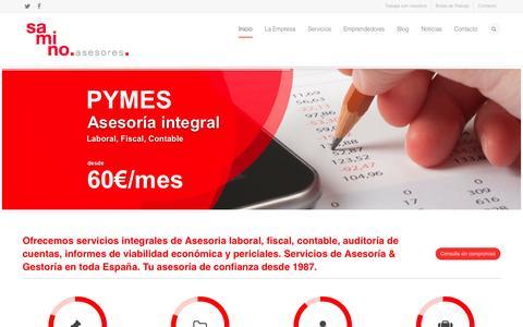 Screenshot of Home Page saminoasesores.com - Samino Asesores | Asesores para emprendedores | Asesoría Online Empresas y Autónomos | Extremadura | Badajoz | Mérida - captured Oct. 4, 2014