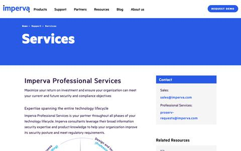 Screenshot of Services Page imperva.com - Professional Services | Imperva - captured March 27, 2019