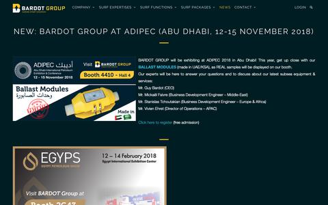 Screenshot of Press Page bardotgroup.com - BARDOT Group at ADIPEC (Abu Dhabi, 12-15 November 2018) - BARDOT GROUP - captured Nov. 11, 2018