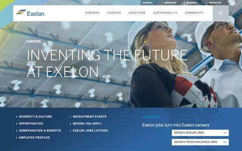 Screenshot of Jobs Page exeloncorp.com - Careers/Jobs at Exelon - Exelon - captured March 30, 2016