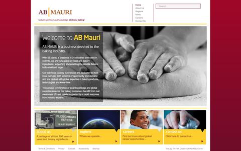 Screenshot of Home Page abmauri.com - AB MAURI   Global Expertise, Local Knowledge   We Know Baking! - captured Nov. 19, 2016