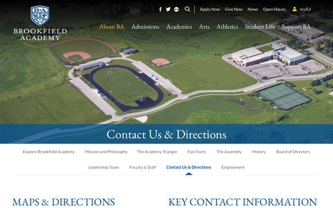 Screenshot of Contact Page Maps & Directions Page brookfieldacademy.org - Contact Us & Directions - captured Oct. 31, 2018