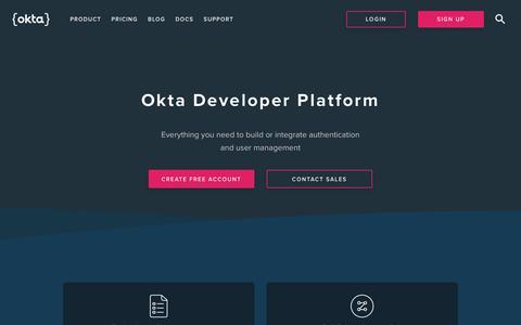 Screenshot of Developers Page okta.com - Home | Okta Developer - captured Feb. 7, 2020
