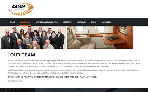 Screenshot of Team Page rammaero.com - Our Team - RAMM Aerospace - captured Dec. 3, 2016
