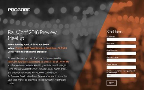 Screenshot of Landing Page procore.com - RailsConf 2016 Preview Meetup - captured April 27, 2016