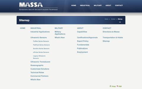 Screenshot of Site Map Page massa.com - Massa Products Corporation - Sitemap - 781-749-4800 - www.massa.com Massa Products Corporation - captured Feb. 12, 2016