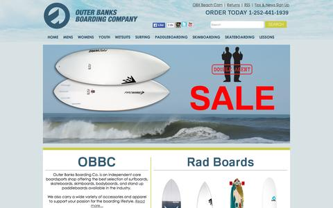 Screenshot of Home Page obbconline.com - Outer Banks Boarding Co.   Nags Head, NC   Surf Shop - captured Sept. 20, 2015