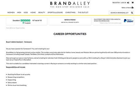Screenshot of Jobs Page brandalley.co.uk - Career Opportunities  - BrandAlley - captured Sept. 22, 2018