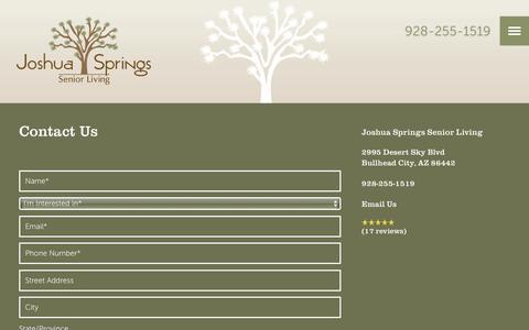 Screenshot of Contact Page milestoneretirement.com - Contact Us | Joshua Springs Senior Living - captured Jan. 25, 2017