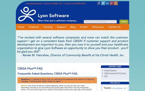 Screenshot of FAQ Page lyonsoftware.com - CBISA Plus™ FAQ - Lyon Software Community Benefit - captured July 25, 2018