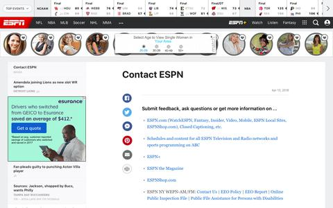 Screenshot of Contact Page espn.com - King Felix upset he won't start Opening Day - captured March 11, 2019