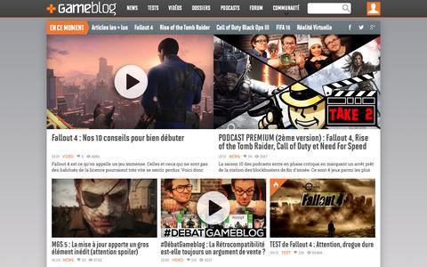 Screenshot of Home Page gameblog.fr - GAMEBLOG.FR : Jeux vidéo PC et Consoles en live - captured Nov. 10, 2015