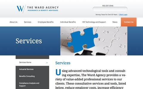 Screenshot of Services Page thewardagency.com - Services | The Ward Agency - captured Nov. 17, 2017