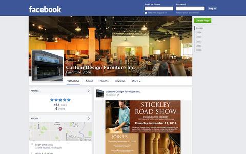Screenshot of Facebook Page facebook.com - Custom Design Furniture Inc. - Grand Rapids, Michigan - Furniture Store | Facebook - captured Oct. 22, 2014