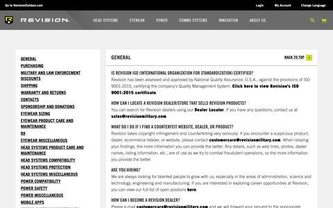 Screenshot of FAQ Page revisionmilitary.com - FAQs - captured May 18, 2019