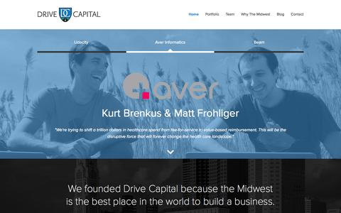 Screenshot of Home Page drivecapital.com - Drive Capital » Venture Funding for Companies in the Midwest - captured Sept. 23, 2015