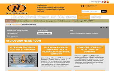 Screenshot of Press Page hydraform.com - News Room    Hydraform - captured June 24, 2017