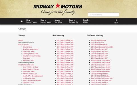 Screenshot of Site Map Page midwaymotors.com - Sitemap | Midway Motors - captured Oct. 18, 2018