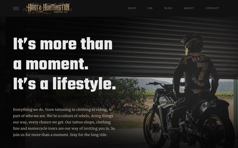 Screenshot of Home Page hartandhuntington.com - Hart and Huntington | Ink Rock Moto | Carey Hart | Hart & Huntington Tattoo Co. - captured Jan. 19, 2018