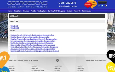 Screenshot of Site Map Page georgesonscars.co.uk - Sitemap for Georgesons - captured Oct. 2, 2014