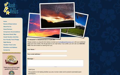 Screenshot of Contact Page aaahtheviews.com - Contact Us   Aaah The Views Inn, Waimea - Kamuela Hawaii - captured Feb. 5, 2016
