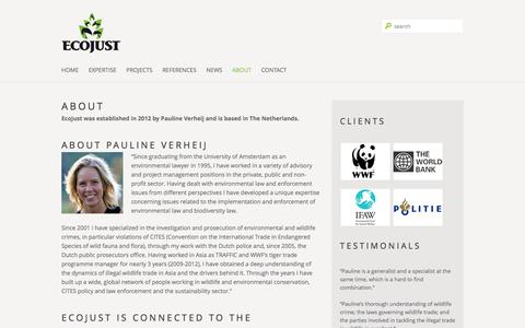 Screenshot of About Page ecojust.eu - EcoJust | Environmental lawyer working for ecological justice » ABOUT - captured Sept. 29, 2014