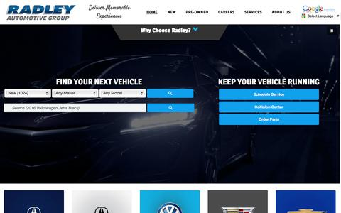 Screenshot of Home Page radleyauto.com - Radley Automotive Group | New & Used Car Dealers in Virginia, Washington DC and Richmond - captured Dec. 6, 2016