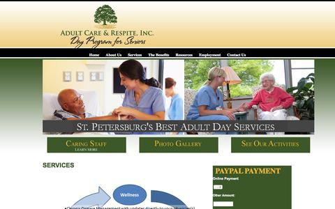 Screenshot of Services Page adultcareandrespite.com - Adult Care and Respite Center offer a full range of adult day servicesAdult Day Care & Respite of America - Senior Day Care Services - captured Oct. 4, 2014