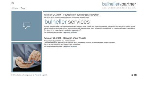 Screenshot of Press Page bulheller-partner.de - News – bulheller+partner – see. understand. take action. - captured Oct. 5, 2014
