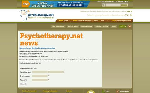 Screenshot of Signup Page psychotherapy.net - Psychotherapy.net news - captured Sept. 23, 2014