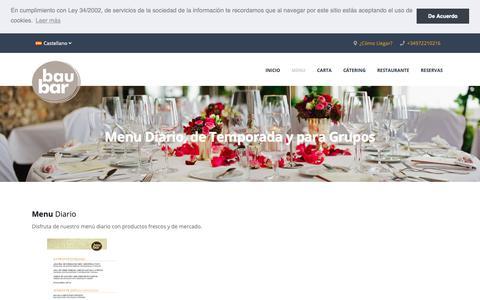 Screenshot of Menu Page baubargirona.com - Menu Diario | Restaurante Girona - Bau Bar - captured Oct. 30, 2018
