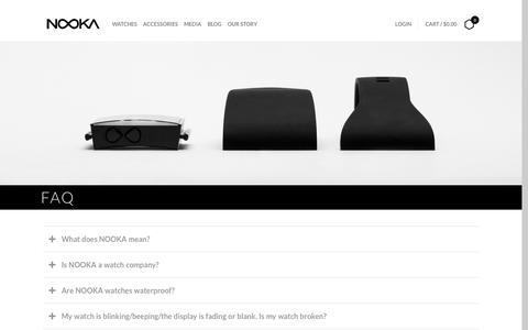 Screenshot of FAQ Page nooka.com - FAQ – NOOKA - captured Aug. 23, 2016