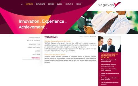 Screenshot of Testimonials Page vegayan.com - :: Vegayan Systems :: - captured Oct. 9, 2014
